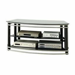 """Bowery Hill 2 Tier 47"""" Glass Top TV Stand in Black and Silve"""