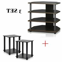 3 Set 3-Tier TV Stand & End Table Espresso/Black Media Stere