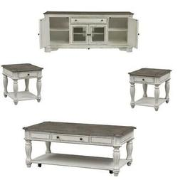 4 Piece Set Of Coffee Table with TV Stand and  End Table