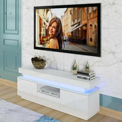 "51"" High Gloss TV Unit Cabinet Stand with RGB LED Lights She"