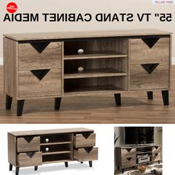 "55"" TV Stand Cabinet Media With 4 Drawer And 3 Open Shelves"