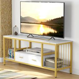 """Tribesigns 55"""" White TV Stand with Drawer 3-Tier TV Console"""