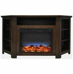 56 In. Electric Corner Fireplace in Walnut with LED Color Di