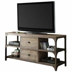 """Bowery Hill 60"""" TV Stand in Weathered Oak and Antique Silver"""