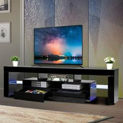 "63"" Glossy TV Stand with LED Light Wood Media Storage Consol"