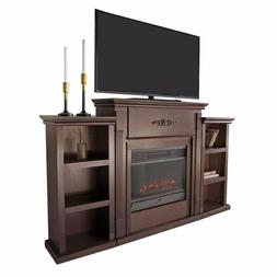 """70"""" TV Stand Fireplace Stand Media Console Bookcase Bookshel"""