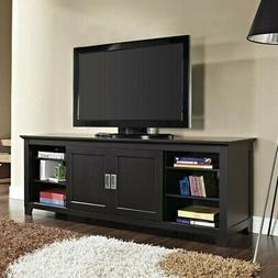 """Pemberly Row 70"""" Wood TV Console with Sliding Doors in Black"""