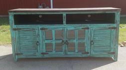 72 inch White Rough Cut Turquoise  TV Stand 4 Doors  Western