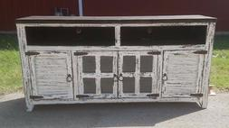 72 inch White Rough Cut  TV Stand 4 Doors  Western Solid Woo