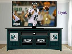 "80"" PHILADELPHIA EAGLES TV Cabinet WALL UNIT with Sliding Ba"