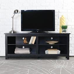 "WE Furniture 58"" Wood Corner TV Stand Console, Black"