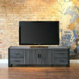 "WE Furniture 70"" Industrial Wood TV Stand Console, Charcoal"