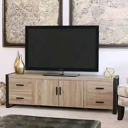 """WE Furniture 70"""" Industrial Wood TV Stand Console, Driftwood"""