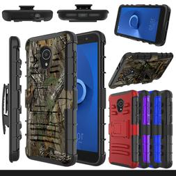 For Alcatel TCL LX A502DL Phone Case Hybrid Holster Stand Ha