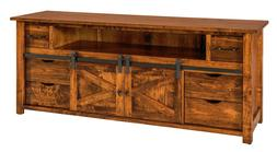 Amish Rustic TV Stand Cabinet Solid Wood Barn Door Sliding T