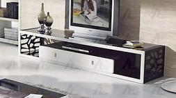 Black and White Tempered Glass Top TV Stand American Eagle F