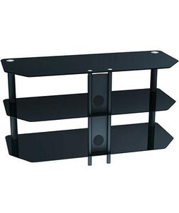 "Black Glass TV Stand Shelf 3 Tier Storage Shelves for 42"" In"