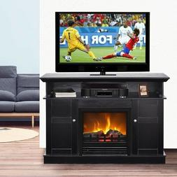 Black TV Stand Electric Fireplace Entertainment Center Livin