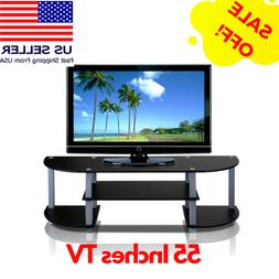 Black TV Stand For 55 Inch Flat Screens With Mount Entertain