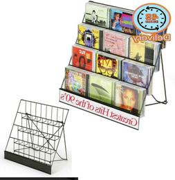 Displays2Go Black Wire Display Rack, Four-Tiered Magazine St