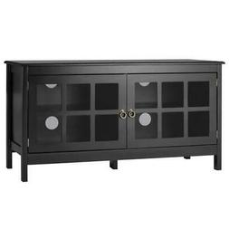 Black Wood TV Stand with Glass Panel Doors for up to 50-inch