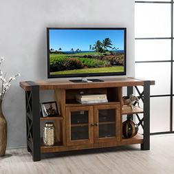 Breeden Natural Wood TV Console with Cabinets