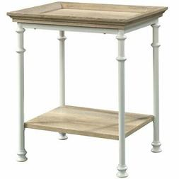 Sauder Canal Street End Table in Coastal Oak and White