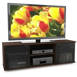 Contemporary Brown TV Stand with Glass Doors - Fits TV's up