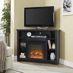 Corner Fireplace TV Stand BLACK Storage Cabinet Electric Spa