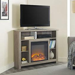 Corner Highboy Fireplace TV Stand in Driftwood
