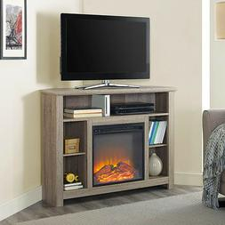 Corner Fireplace Tall TV Stand RUSTIC Storage Cabinet Electr