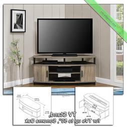 """Corner TV Stand Console Table 50"""" Wood Stands for Flat Scree"""