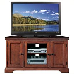 """Bowery Hill 46"""" Corner TV Stand with Storage in Cherry"""