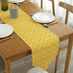 Cotton Linen Plaid Table Runner Tablecloth Wedding Party Din