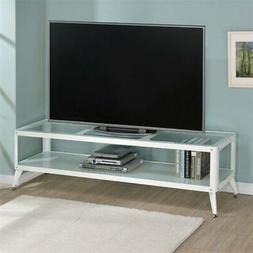 "Furniture of America Elton Modern Metal 72"" TV Stand in Whit"
