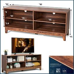 Entertainment Center TV Stand Unit With Shelves Brown TV Med