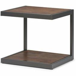 Simpli Home Erina End Table in Rustic Natural Aged Brown