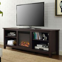 Espresso 70 Inch TV Stand Fireplace Space Heater Adjustable