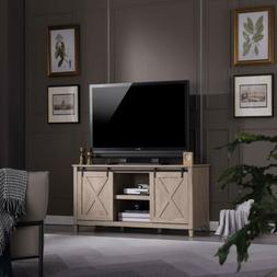 Farmhouse 58 Inch Sliding Barn Door TV Stand Console With St