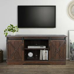 "Farmhouse Style 58"" TV Stand W/Sliding Barn Door Console Tab"