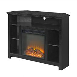 Fireplace Corner Highboy TV Stand Wood Console Entertainment