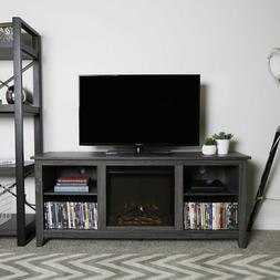 Fireplace TV Stand Space Heater Center Grey Cabinet Shelving