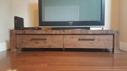 Fontana Acacia Solid Wood 75 Inch TV Stand Stainless Steel A