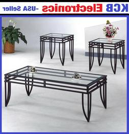 Glass Cocktail Room 3 End Table Set Modern Coffee Sofa TV St