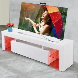 Tobbi High Gloss White TV Stand Unit Cabinet Console with LE
