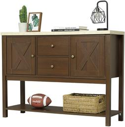 Hallway Entryway Rustic Console Table TV Stand w/ 2 Drawers
