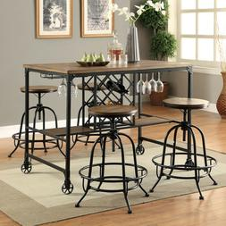 Height Dining Table Industrial Wine Rack Counter Chairs Meta