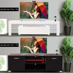 High Gloss TV Stand Cabinet with LED Light Shelve White/Blac
