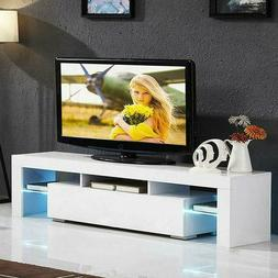 High Gloss White TV Stand Unit Cabinet w/LED Shelves Drawers