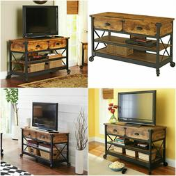 Console TV Stand Table Industrial Rustic Living Room Antique